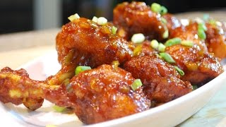 Chicken Lollipops in a sweet and spicy sauce. Ingredients5 Chicken Wings (Makes 10 lollipops)1 Cup All purpose flour1/2 Cup Corn starch1 Tbsp Red chilli powder1 Tsp Salt1/2 Tsp Black Pepper powder3 Cloves garlic1/2 Onion 1 Green Chilli 1/3 Cup Sweet Chilli sauceGreen onion for garnishEnjoy~A Audio: Water Lily - Youtube Audio library