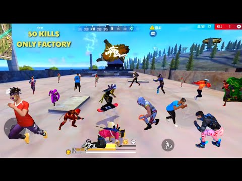 KING OF FACTORY FREE FIRE 50 KILLS ON FACTORY ROOF FACTORY FIST GAMEPLAY INCREDIBLE HEADSHOT FACTORY