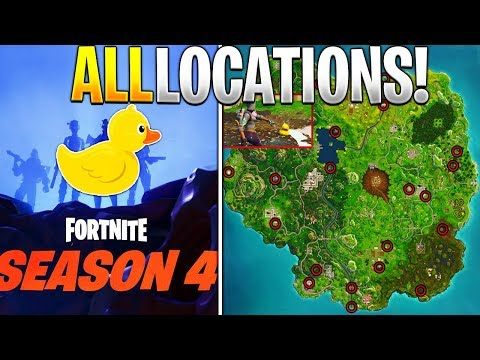 WHERE TO FIND ALL 10 RUBBER DUCKIES in Fortnite! (Season 4 Battle Pass Challenge)
