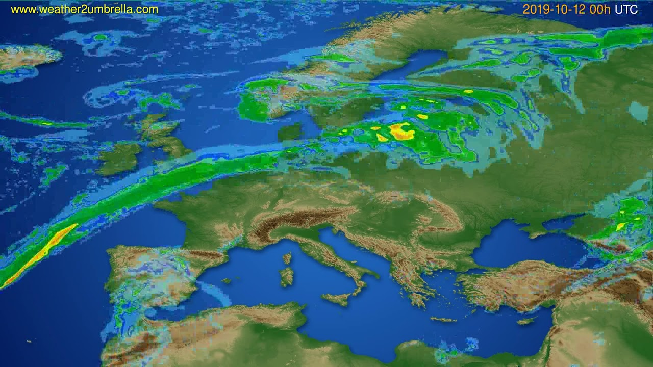 Radar forecast Europe // modelrun: 12h UTC 2019-10-11