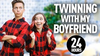 TWiNNiNG with MY BOYFRiEND at COLLEGE for 24 HOURS!