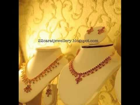 Ruby,Emrald,Pearls Necklace and Earring Sets Jewellery Designs by 22caratjewellery.com