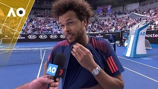 Jo-Wilfried Tsonga talks about his preparations and family life, following his 3R win over Jack Sock at the Australian Open 2017.