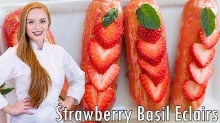 Strawberry Basil Eclairs by Tatyana's Everyday Food