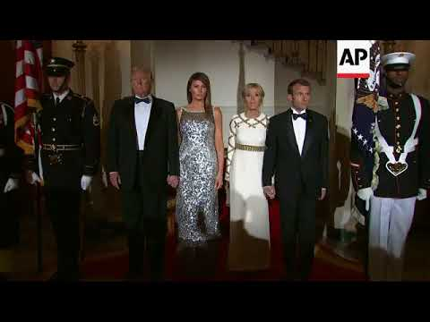 Presidents Trump, Macron arrive at State Dinner
