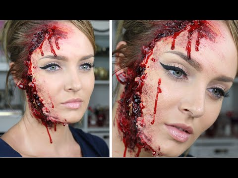 sfx - I like this sort of Halloween look because you can still do your normal 'pretty' makeup however you like, but still have the SCARY and WOW factor with the gore special FX! Very fun! I haven't...