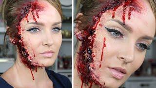 Ripped/Torn Skin Facial Injury for Halloween! SFX Makeup Tutorial
