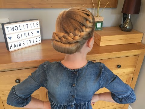 Braid hairstyles - French Braid Roll hair tutorial by Two Little Girls Hairstyles