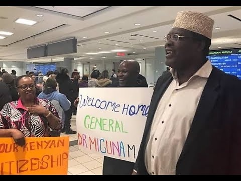 Miguna's ARRIVAL in Canada. GENERAL Welcomed with Flowers and Kenyans