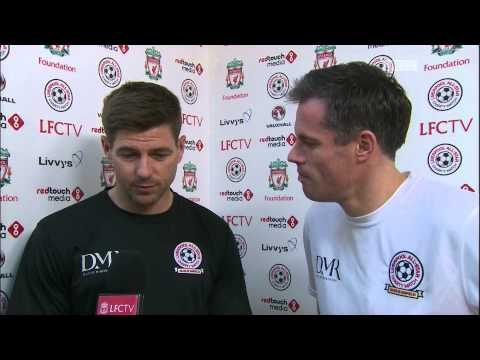 Video: Steven Gerrard and Jamie Carragher talk ahead of kick-off at All-Star charity match at Anfield