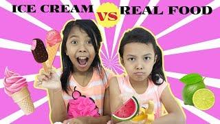 Video ICE CREAM VS REAL FOOD CHALLENGE MP3, 3GP, MP4, WEBM, AVI, FLV Juni 2018