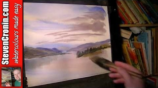 Watercolour landscape painting tutorial featuring the Cairngorm mountains in Scotland. -~-~~-~~~-~~-~- Watch more exclusive ...