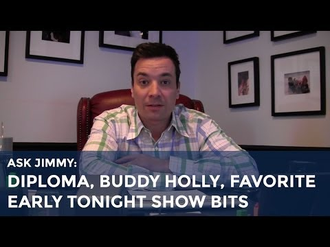 Tonight - Jimmy answers your questions about how he got his honorary diploma, what his favorite office item is, and what his favorite bits are from past years of The T...