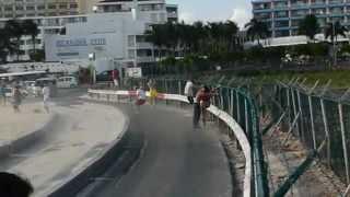 A girl fence surfing on St. Maarten beach got blown away by jet blast. (Original upload by LinkSxm)