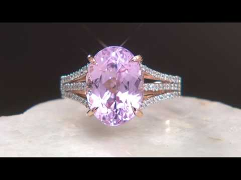 Oval Kunzite & Pave' Diamond Ring, 14K Gold 6.70 ct on QVC