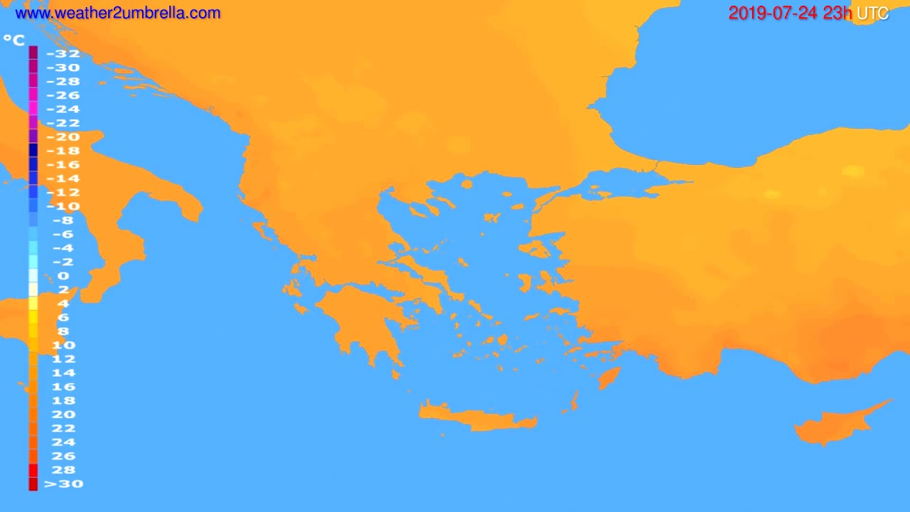 Temperature forecast Greece // modelrun: 12h UTC 2019-07-21