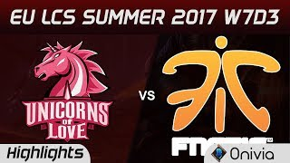 UOL vs FNC Highlights Game 1 EU LCS SUMMER 2017 Unicorns of Love vs Fnatic by OniviaMake money with your LoL knowledge https://goo.gl/mh4DV5Use Bonus code ONIVIA100 to get 100% first deposit bonus!Offer available in all countries(Except UK), you have to be at least 18 years old. Spoiler free highlights on http://onivia.comJoin our discord channel to send feedback and stuff https://discord.gg/hf9vNG9Like us on Facebook  - https://www.facebook.com/oniviagames/Follow us on Twitter - https://twitter.com/oniviagamesWatch Vods on LoLEventVods - https://www.youtube.com/user/LoLeventVoDsROCCAT helps us create highlights faster! Here is what we are using:Mouse: ROCCAT Kone EMP Keyboard: ROCCAT Isku+ Force FX Headphones: ROCCAT Cross  Mousepad: ROCCAT Taito XXL-Wide Check out their products here: https://goo.gl/dQfvZuAkali counter: http://onivia/akali-counter/Xayah counter: http://onivia/xayah-counter/Aatrox counter http://onivia/aatrox-counter-lol/Ahri counter tips http://onivia.com/ahri-counter-lol/Alistar counter tips http://onivia.com/alistar-counter-lol/Amumu counter tips http://onivia.com/amumu-counter-lol/