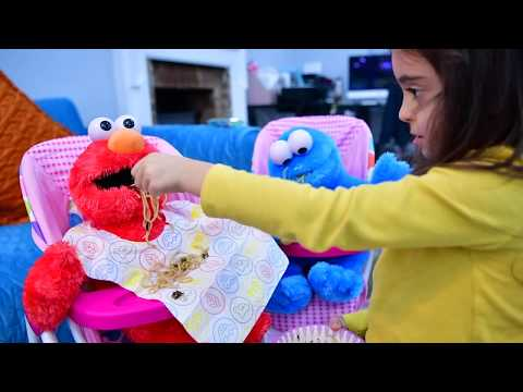 Feeding Elmo and Cookie Monster with Real Food