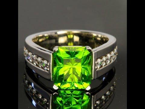 Pakistan Peridot Ring with Fine Diamonds