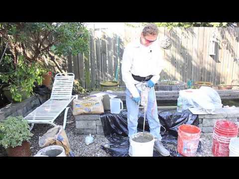 Quikrete one coat render cement plaster, Mixing Quikrete in buckets