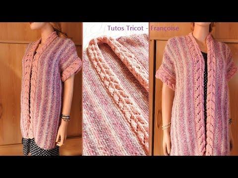 Tuto tricot gilet Femme sans manches point mousse et bandes ajourées taille 38 /40 - 42/44 - 46/48