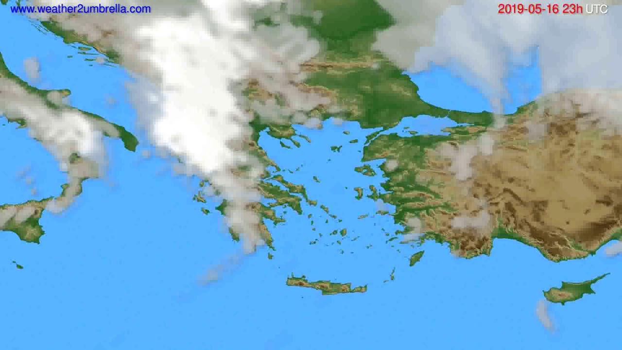 Cloud forecast Greece // modelrun: 12h UTC 2019-05-13