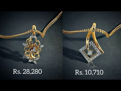 Diamond gold Pendants designs with PRICE By Bluestone