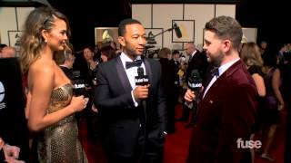"John Legend & Chrissy Teigen Fight About ""Video Hoes""  - GRAMMY Red Carpet"