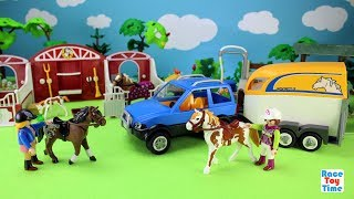 Hi kids, racetoytime here! Today, we are going to build a small paddock and a transporter or trailer for the horses. We also included the Playmobil horse stable barn in this video. Please subscribe to our channel if you haven't already done so. Like, share, and comment on our video. And, as always, thanks for watching!Subscribe to racetoytime here - https://www.youtube.com/channel/UCVTQrl1dtafYX08IBb7EhrwWatch our other videos:  Learn Animal Toys Names │ Zoo Animals Elephant Lion Tiger Rhino for Kids - https://www.youtube.com/watch?v=KnsmONvQyeYLearning Sea Animals Toy Sharks Whales Dolphin - https://www.youtube.com/watch?v=9i88w4UqPnADinosaur Surprise Toys Game in the Claw Machine -  Learn Dinosaurs Names For Children - https://www.youtube.com/watch?v=H8AkVqFrxhoJurassic World Mini Dinosaurs Figures Blind Bag Exclusive Indominus Rex  - https://www.youtube.com/watch?v=_bgyS74lUR8Playmobil City Zoo Toy Wild Animals Building Set Build Review - https://www.youtube.com/watch?v=g5dbYcmUHZ8Playmobil City Life Large Zoo Toy Wild Animals Building Set Build Review - https://www.youtube.com/watch?v=IZXfiFPyW8EDinosaurs 3D Puzzles Animals Eggs Surprise Toys - Spinosaurus Ankylosaurus Pteranodon - https://www.youtube.com/watch?v=VJuukvLmpSgDinosaur Transforming Eggs Toys - Tyrannosaurus Rex Pterodactyl Velociraptor Triceratops - https://youtu.be/HT_CFeMP9GkToy Wild Animals 3D Puzzles Collection - Lion Panda Elephant Zebra Tortoise │ Animals for children - https://youtu.be/yabb98z1WC8Playmobil Toy Wild Zoo Animals Collection For Kids - Tiger Panda Koala Gorilla - https://youtu.be/L06I3WiWjNsPLAYMOBIL Country Farm Animals Pen and Hen House Building Set Build Review  - https://www.youtube.com/watch?v=dGplrNa-NZkPLAYMOBIL Toy Wild Zoo Animals Collection For Kids - Tiger Panda Koala Gorilla - https://youtu.be/L06I3WiWjNsPlaymobil Safari Wild Animals Buiding Toy Sets Collection For Kids - https://youtu.be/M27Txqwyc4cSea Animals Island Sandbox - Learn Wild Animal Names For Kids! - htt