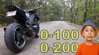 7. 0 to 200 challenge??? Kawasaki z1000 FULL acceleration !!