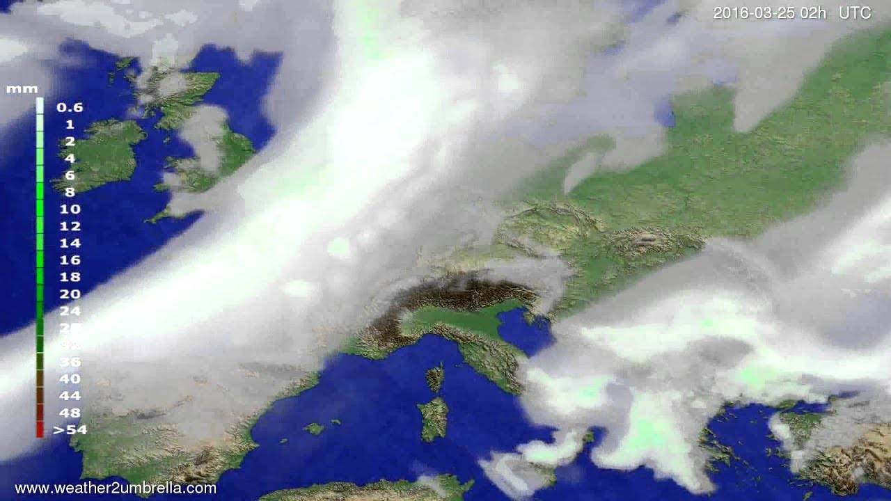 Precipitation forecast Europe 2016-03-21