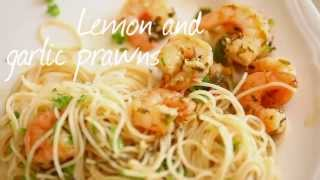 Lemon and garlic prawns
