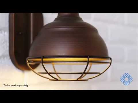 Video for Neo-Industrial Rubbed Bronze One-Light Sconce
