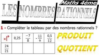 Maths 4ème - Les nombres rationnels Produit et Quotient Exercice 9