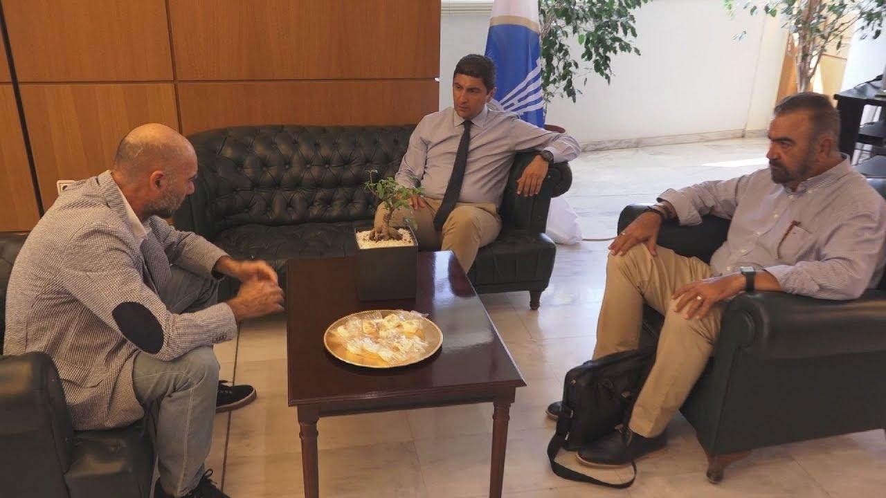 Συνάντηση του Λευτέρη Αυγενάκη με τον πρόεδρο του Πανιωνίου Χρήστο Δάρρα