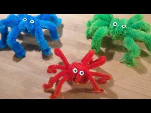 DIY Plüsch-Spinne aus Pfeifenreiniger - Kinder-Bastel-Tutorial