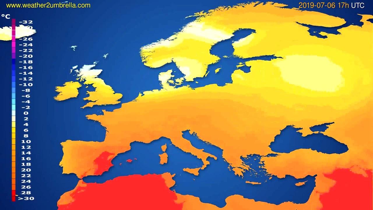 Temperature forecast Europe // modelrun: 12h UTC 2019-07-04