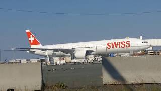 Aircraft info: http://www.airfleets.net/ficheapp/plane-b777-44585.htm A Swiss Global Airlines 777-300ER made an emergency ...