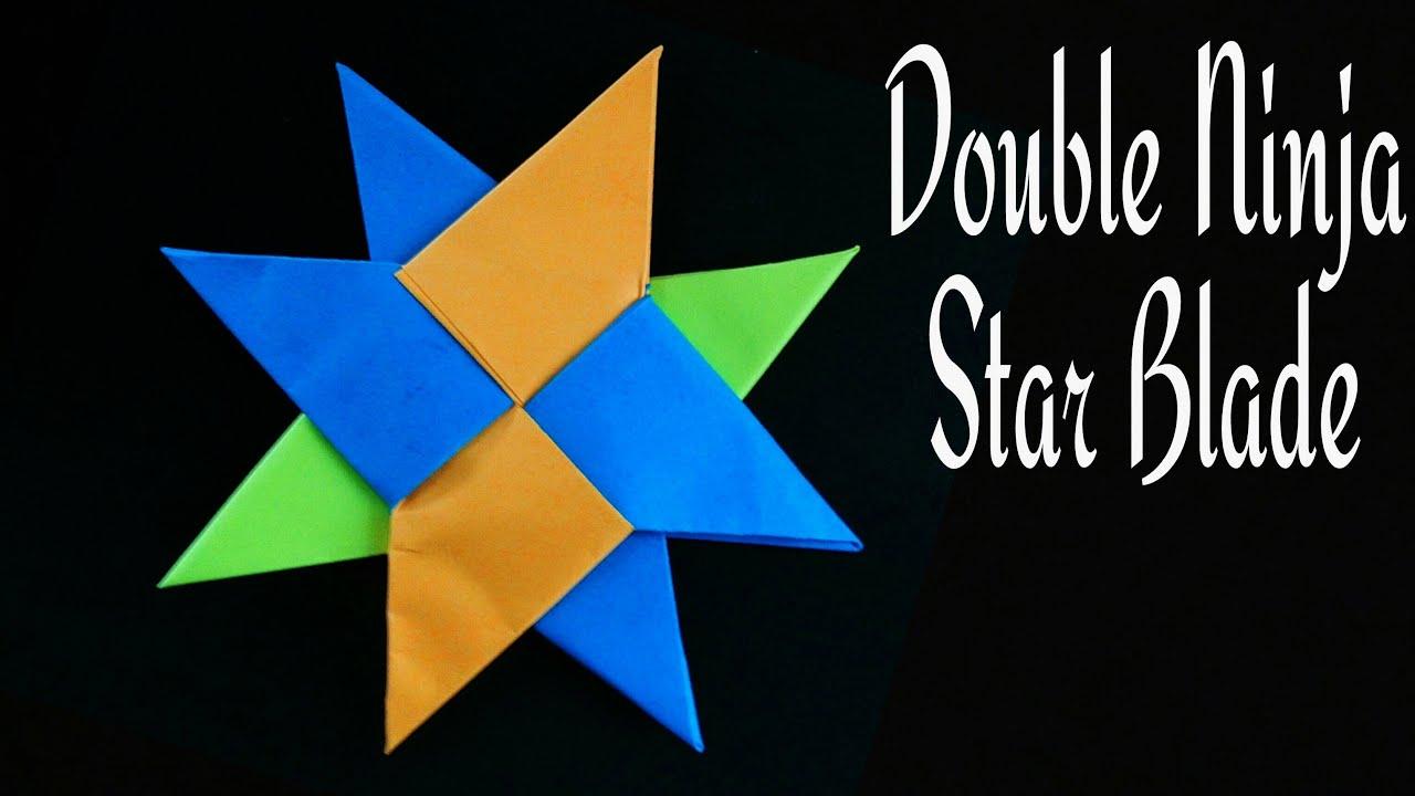 Origami Tutorial Paper Double Ninja Star Blade Shuriken Using Waste Cut Sheets
