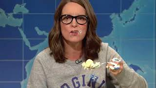Tina Fey-Read newspapers instead of you UVA alum Tina Fey returns to SNL armed with cake to take down Trump and 'chinless ...