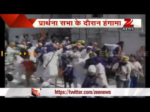 Epic sword fight at Sikh temple in India