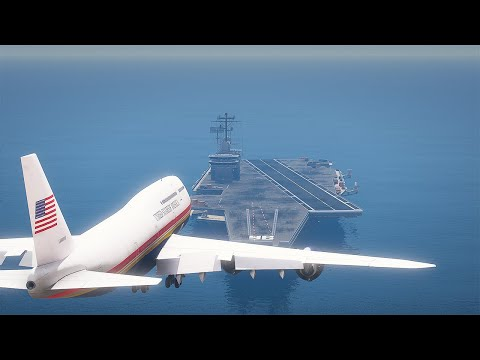 Air Force One Presidential Airplane Landing On An Aircraft Carrier | GTA 5