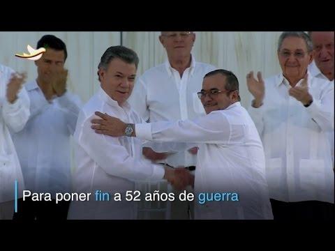 Santos y Timochenko sellaron la paz en Colombia