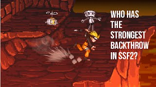 Which character has the strongest back throw in SSF2?