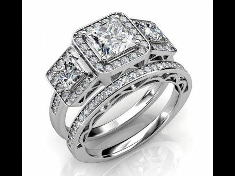 10g Silver 3 Stone / Trilogy Wedding Ring Set I www.eshoppingbazar.co.uk