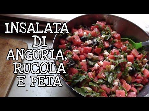 insalata di anguria, rucola e feta greca - ricetta