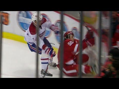 Video: Bertuzzi crashes awkwardly into end boards, injures leg