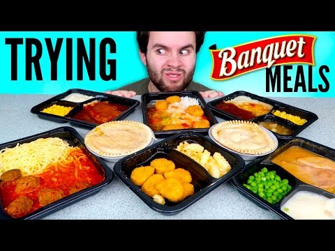 TRYING BANQUET FROZEN MEALS! - Gravy Pie, Chicken Nuggets & Fries, Turkey Dinner, & MORE Taste Test!