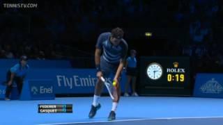 Tennis Highlights, Video - Roger Federer Vs Gasquet Barclays ATP World Tour Finals 2013 Group B 1st Set