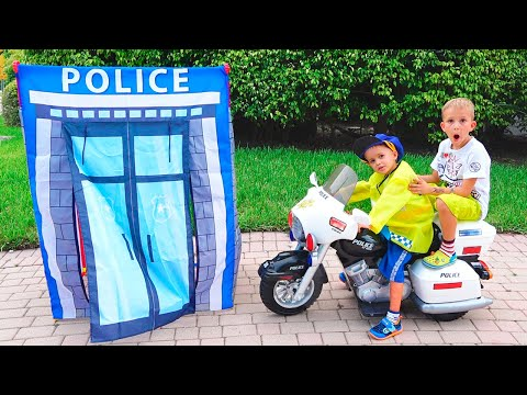 Vlad and Nikita Pretend Play Police